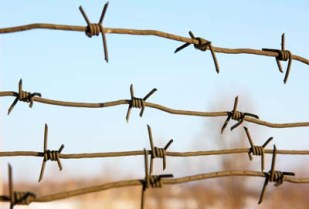 barbed wires against blue sky.